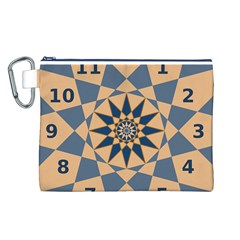 Stellated Regular Dodecagons Center Clock Face Number Star Canvas Cosmetic Bag (L)
