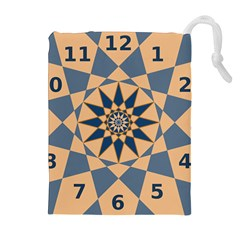 Stellated Regular Dodecagons Center Clock Face Number Star Drawstring Pouches (Extra Large)