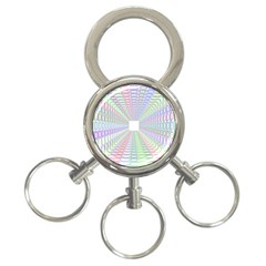 Tunnel With Bright Colors Rainbow Plaid Love Heart Triangle 3-Ring Key Chains