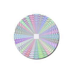 Tunnel With Bright Colors Rainbow Plaid Love Heart Triangle Rubber Round Coaster (4 Pack)