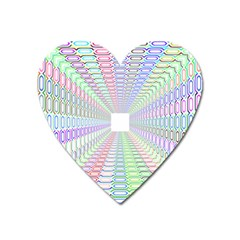Tunnel With Bright Colors Rainbow Plaid Love Heart Triangle Heart Magnet