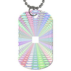 Tunnel With Bright Colors Rainbow Plaid Love Heart Triangle Dog Tag (One Side)