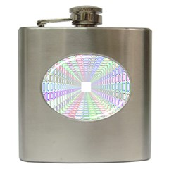 Tunnel With Bright Colors Rainbow Plaid Love Heart Triangle Hip Flask (6 Oz)