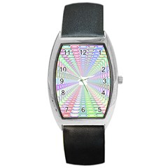 Tunnel With Bright Colors Rainbow Plaid Love Heart Triangle Barrel Style Metal Watch