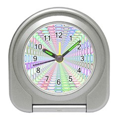 Tunnel With Bright Colors Rainbow Plaid Love Heart Triangle Travel Alarm Clocks