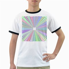 Tunnel With Bright Colors Rainbow Plaid Love Heart Triangle Ringer T Shirts