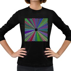 Tunnel With Bright Colors Rainbow Plaid Love Heart Triangle Women s Long Sleeve Dark T-Shirts