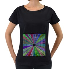 Tunnel With Bright Colors Rainbow Plaid Love Heart Triangle Women s Loose-Fit T-Shirt (Black)