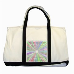 Tunnel With Bright Colors Rainbow Plaid Love Heart Triangle Two Tone Tote Bag