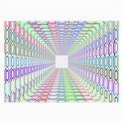 Tunnel With Bright Colors Rainbow Plaid Love Heart Triangle Large Glasses Cloth (2-Side)