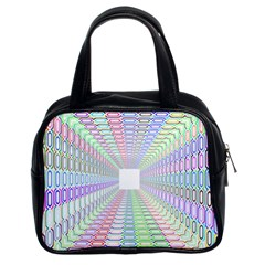 Tunnel With Bright Colors Rainbow Plaid Love Heart Triangle Classic Handbags (2 Sides)