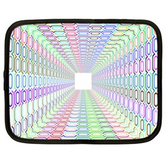Tunnel With Bright Colors Rainbow Plaid Love Heart Triangle Netbook Case (XL)