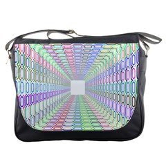 Tunnel With Bright Colors Rainbow Plaid Love Heart Triangle Messenger Bags