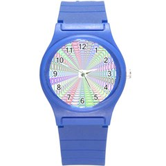 Tunnel With Bright Colors Rainbow Plaid Love Heart Triangle Round Plastic Sport Watch (S)