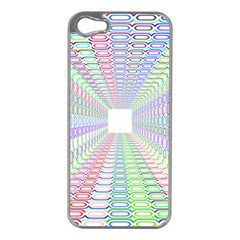 Tunnel With Bright Colors Rainbow Plaid Love Heart Triangle Apple iPhone 5 Case (Silver)