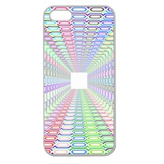Tunnel With Bright Colors Rainbow Plaid Love Heart Triangle Apple Seamless Iphone 5 Case (clear)