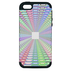Tunnel With Bright Colors Rainbow Plaid Love Heart Triangle Apple iPhone 5 Hardshell Case (PC+Silicone)