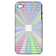 Tunnel With Bright Colors Rainbow Plaid Love Heart Triangle Apple iPhone 4/4S Hardshell Case (PC+Silicone)