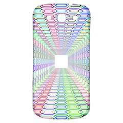 Tunnel With Bright Colors Rainbow Plaid Love Heart Triangle Samsung Galaxy S3 S III Classic Hardshell Back Case