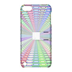 Tunnel With Bright Colors Rainbow Plaid Love Heart Triangle Apple iPod Touch 5 Hardshell Case with Stand