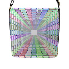 Tunnel With Bright Colors Rainbow Plaid Love Heart Triangle Flap Messenger Bag (L)