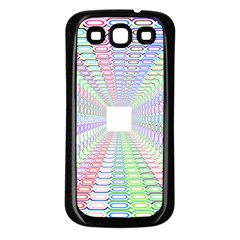 Tunnel With Bright Colors Rainbow Plaid Love Heart Triangle Samsung Galaxy S3 Back Case (Black)