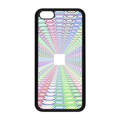 Tunnel With Bright Colors Rainbow Plaid Love Heart Triangle Apple iPhone 5C Seamless Case (Black)