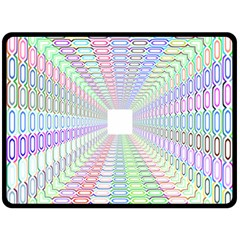 Tunnel With Bright Colors Rainbow Plaid Love Heart Triangle Double Sided Fleece Blanket (Large)