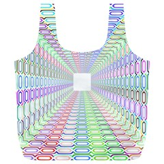 Tunnel With Bright Colors Rainbow Plaid Love Heart Triangle Full Print Recycle Bags (L)