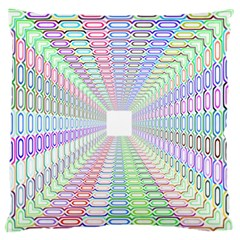Tunnel With Bright Colors Rainbow Plaid Love Heart Triangle Large Flano Cushion Case (Two Sides)