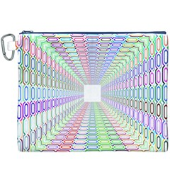 Tunnel With Bright Colors Rainbow Plaid Love Heart Triangle Canvas Cosmetic Bag (XXXL)