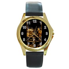 Drink Good Whiskey Round Gold Metal Watch