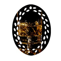 Drink Good Whiskey Oval Filigree Ornament (Two Sides)