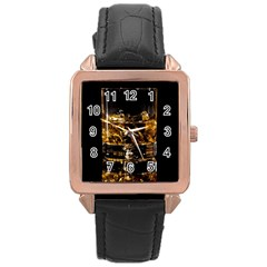 Drink Good Whiskey Rose Gold Leather Watch