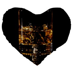 Drink Good Whiskey Large 19  Premium Flano Heart Shape Cushions