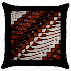 Traditional Batik Sarong Throw Pillow Case (Black)