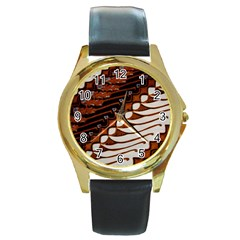 Traditional Batik Sarong Round Gold Metal Watch