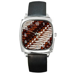 Traditional Batik Sarong Square Metal Watch