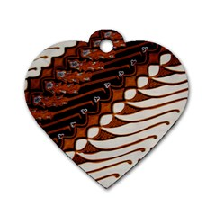 Traditional Batik Sarong Dog Tag Heart (Two Sides)