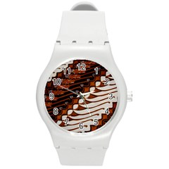 Traditional Batik Sarong Round Plastic Sport Watch (M)