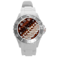Traditional Batik Sarong Round Plastic Sport Watch (L)