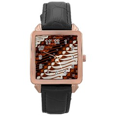 Traditional Batik Sarong Rose Gold Leather Watch