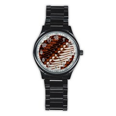 Traditional Batik Sarong Stainless Steel Round Watch