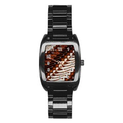 Traditional Batik Sarong Stainless Steel Barrel Watch