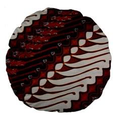 Traditional Batik Sarong Large 18  Premium Flano Round Cushions