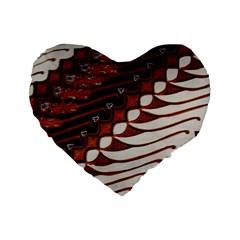 Traditional Batik Sarong Standard 16  Premium Flano Heart Shape Cushions