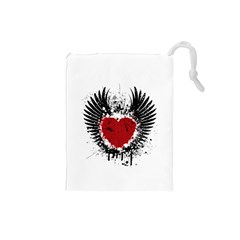 Wings Of Heart Illustration Drawstring Pouches (Small)