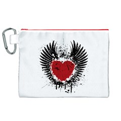 Wings Of Heart Illustration Canvas Cosmetic Bag (XL)