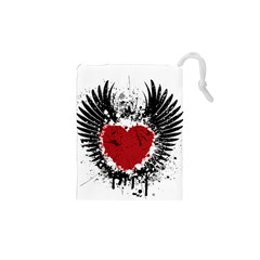 Wings Of Heart Illustration Drawstring Pouches (XS)