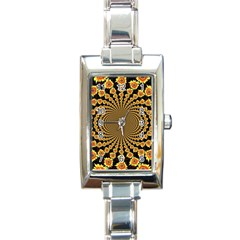 Psychedelic Sunflower Rectangle Italian Charm Watch